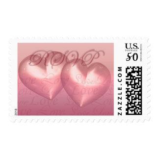 KRW Two Hearts RSVP Pink Wedding Postage