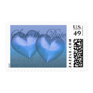 KRW Two Hearts Save the Date Wedding Blue Stamp