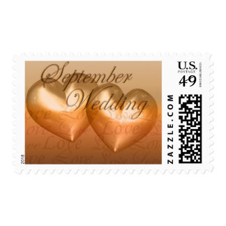 KRW Two Hearts September Wedding Amber Postage Stamp