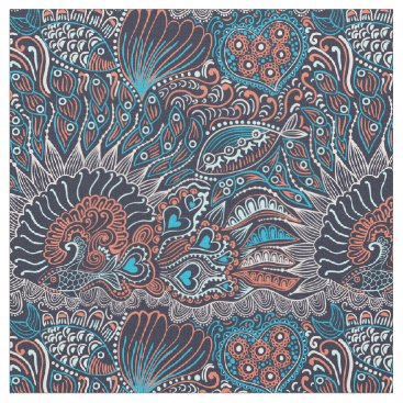 Beach Themed KRW Unique Abstract Fish Print Fabric