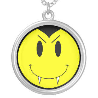 KRW Vampire Smilie Face Sterling Silver Necklace