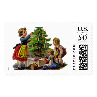 KRW Victorian Children and Tree Holiday Stamp