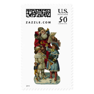 KRW Victorian Santa with Children Holiday Stamp
