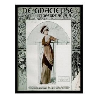 KRW Vintage 1907 French Fashion Magazine Cover Posters