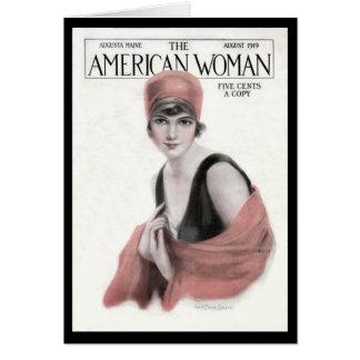 KRW Vintage 1919 American Woman Blank Card