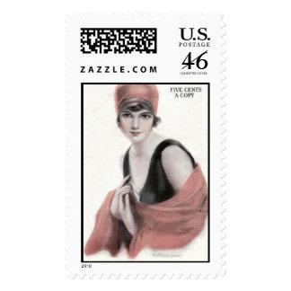 KRW Vintage American Woman 1919 Magazine Stamp