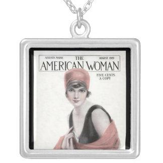 KRW Vintage American Woman Mag Silver Necklace