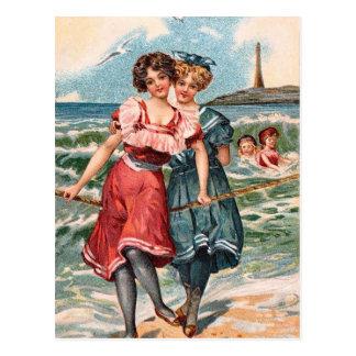 KRW Vintage Beach Illustration Postcard
