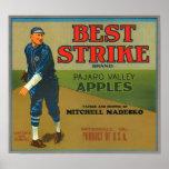 KRW Vintage Best Strike Apples Crate Label Poster
