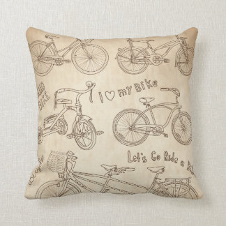KRW Vintage Bicycle Drawing Decor Pillow