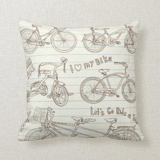 KRW Vintage Bike Drawings on Notebook Paper Pillow