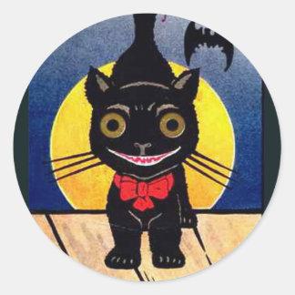 KRW Vintage Black Cat Halloween Classic Round Sticker
