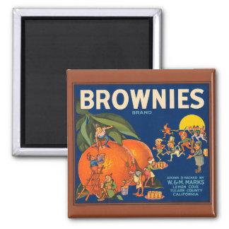 KRW Vintage Brownies Orange Fruit Crate Label Magn 2 Inch Square Magnet