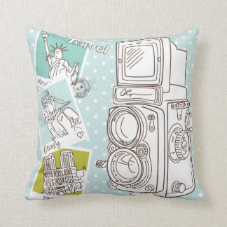 KRW Vintage Camera Travel Picture Pillow