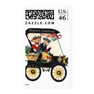 KRW Vintage Car Seasons Greetings Stamp