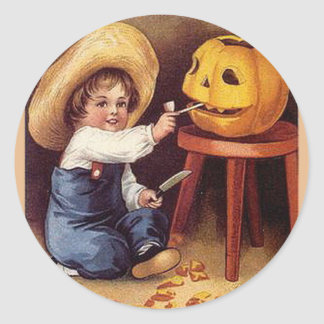KRW Vintage Carving the Pumpkin Halloween Classic Round Sticker