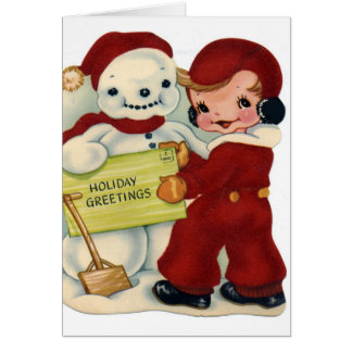 KRW Vintage Child and Snowman Holiday Card