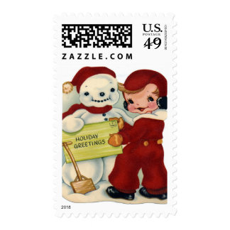 KRW Vintage Child and Snowman Holiday Stamp