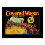 KRW Vintage Covered Wagon Pears Fruit Crate Label Poster