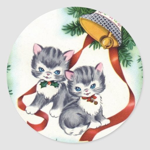 KRW Vintage Cute Kittens Christmas Stickers