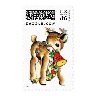 KRW Vintage Cute Lil Reindeer Holiday Stamp
