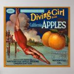 KRW Vintage Diving Girl Apple Fruit Crate Label Poster