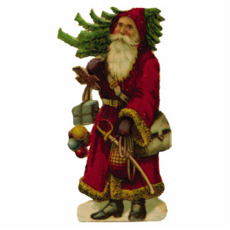 KRW Vintage Father Christmas and Tree Ornament Photo Cutout