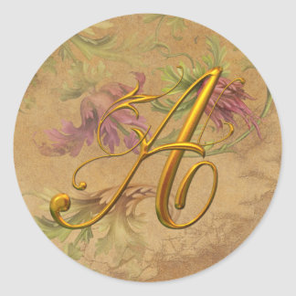 KRW Vintage Floral Gold A Monogram Wedding Seal