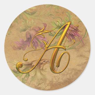 KRW Vintage Floral Gold A Monogram Wedding Seal Classic Round Sticker