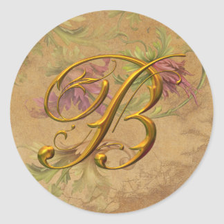 KRW Vintage Floral Gold B Monogram Wedding Seal Classic Round Sticker