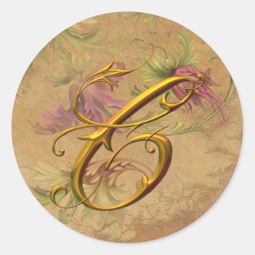 KRW Vintage Floral Gold C Monogram Wedding Seal Round Sticker