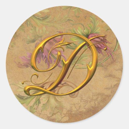KRW Vintage Floral Gold D Monogram Wedding Seal Round Stickers