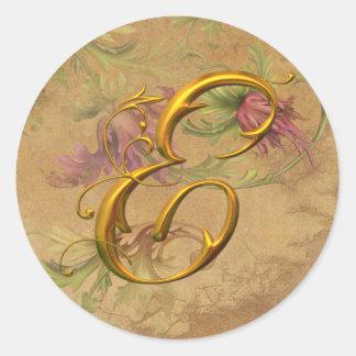 KRW Vintage Floral Gold E Monogram Wedding Seal Classic Round Sticker