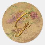 KRW Vintage Floral Gold G Monogram Wedding Seal Round Sticker