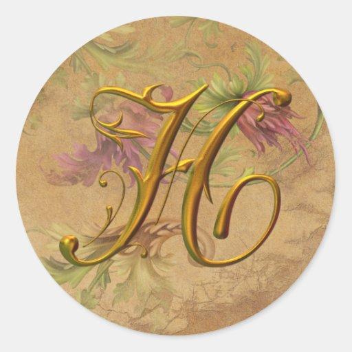 KRW Vintage Floral Gold H Monogram Wedding Seal Stickers