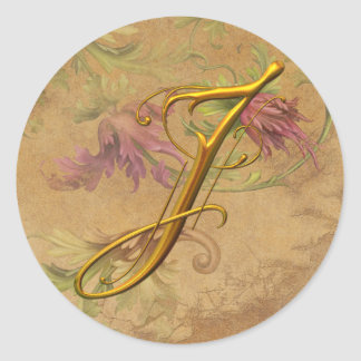 KRW Vintage Floral Gold J Monogram Wedding Seal