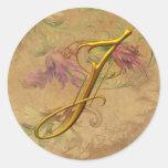 KRW Vintage Floral Gold J Monogram Wedding Seal Round Sticker