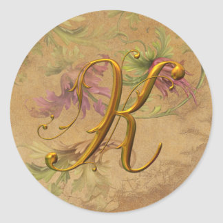 KRW Vintage Floral Gold K Monogram Wedding Seal