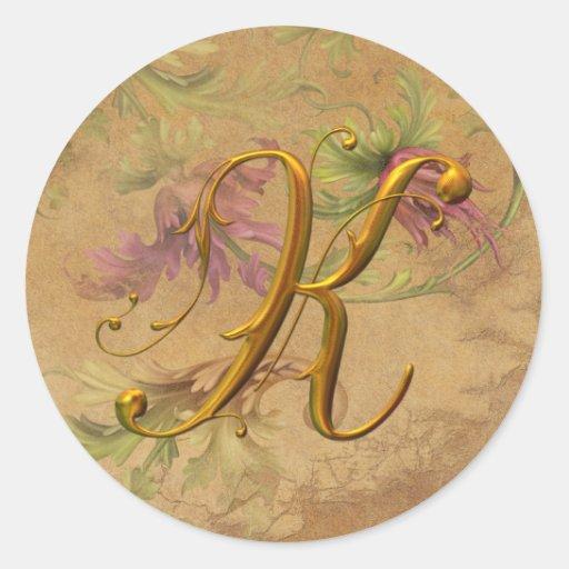 KRW Vintage Floral Gold K Monogram Wedding Seal Round Sticker