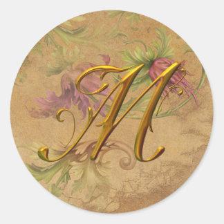 KRW Vintage Floral Gold M Monogram Wedding Seal Classic Round Sticker