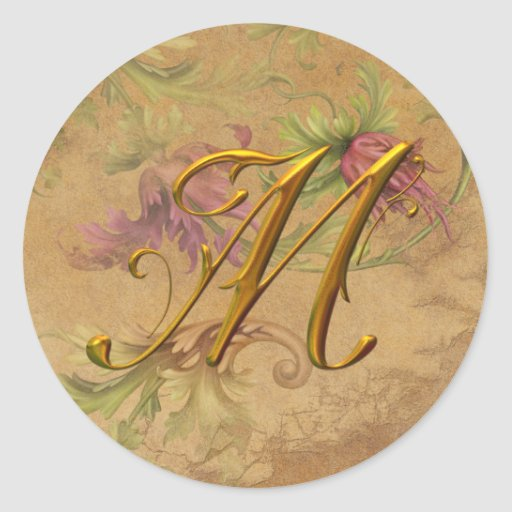 KRW Vintage Floral Gold M Monogram Wedding Seal Round Sticker
