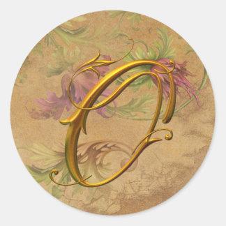 KRW Vintage Floral Gold O Monogram Wedding Seal Classic Round Sticker