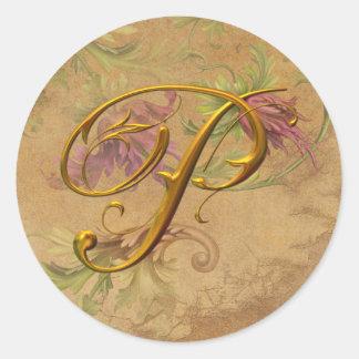 KRW Vintage Floral Gold P Monogram Wedding Seal Classic Round Sticker