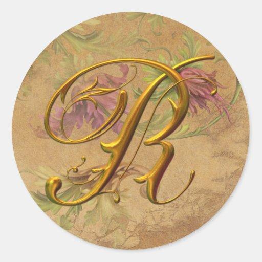 KRW Vintage Floral Gold R Monogram Wedding Seal Sticker
