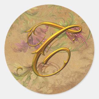 KRW Vintage Floral Gold T Monogram Wedding Seal Classic Round Sticker