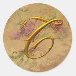 KRW Vintage Floral Gold T Monogram Wedding Seal Stickers