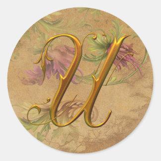 KRW Vintage Floral Gold U Monogram Wedding Seal Classic Round Sticker