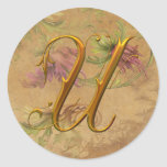 KRW Vintage Floral Gold U Monogram Wedding Seal Stickers