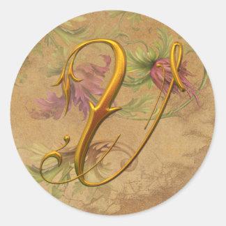 KRW Vintage Floral Gold V Monogram Wedding Seal Classic Round Sticker