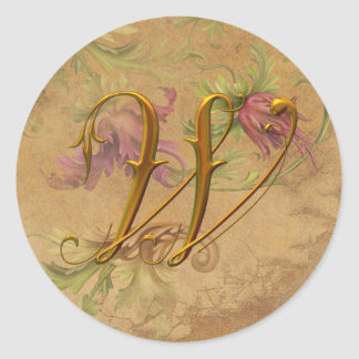 KRW Vintage Floral Gold W Monogram Wedding Seal